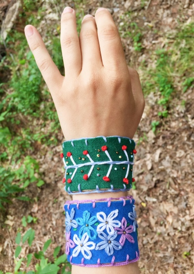 Some of the embroidered bracelets I made and sold at Levitate 2018