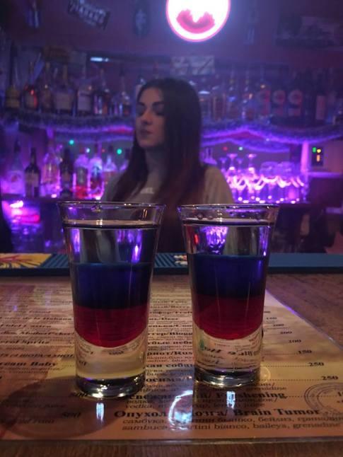 The Russian Patriot: Grenadine, vodka, and Curacao